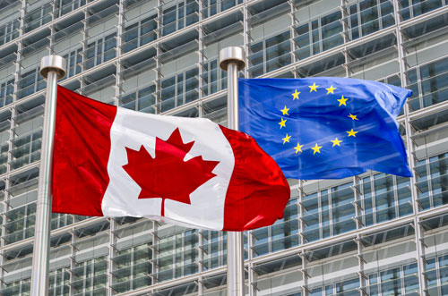 European and Canadian flags